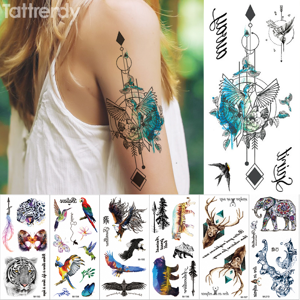 New Temporary tattoo sticker Fantasy Color Freedom bird Phoenix Hot Large animal Waterproof flower arm tattoo for women men kids 건달 조폭 옷