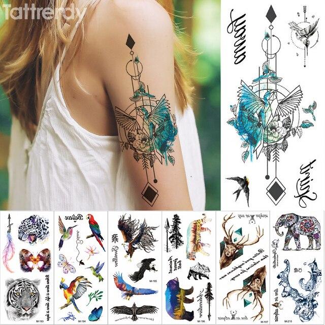 606d34d97bafb New Temporary tattoo sticker Fantasy Color Freedom bird Phoenix Hot Large  animal Waterproof flower arm tattoo for women men kids