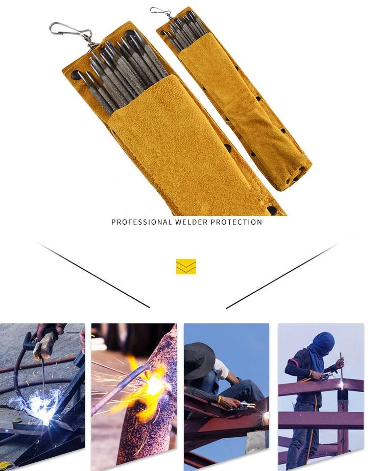 Bolsa porta electrodos soldadura de cuero de vaca retardante de llama