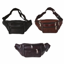 THINKTHENDO Men Women Leather Waist Fanny Pack Belt Bag Pouch Travel Hip Purse New Fashion Soft Solid Zip Unisex Bags