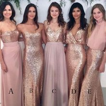 b3b0cd48dc9 Blush Pink Bridesmaid Dress Sparkly Mismatched Sequin Floor-length Diverse  Styles Bridesmaid Dress(China