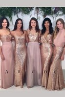 Blush Pink Bridesmaid Dress Sparkly Mismatched Sequin Floor length Diverse Styles Bridesmaid Dress
