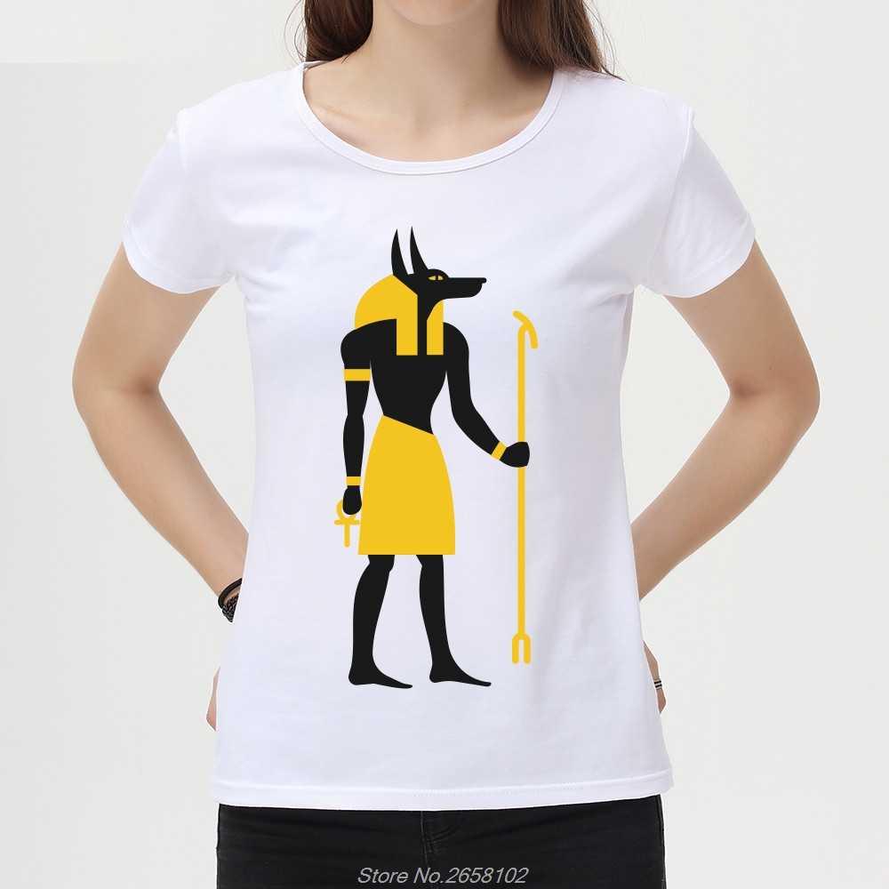 Egitto Dio Anubis Stampa T-Shirt Estate delle Donne Fresco Retrò Tshirt Casual Bianco Top Della Signora Manica Corta Magliette Harajuku Streetwear