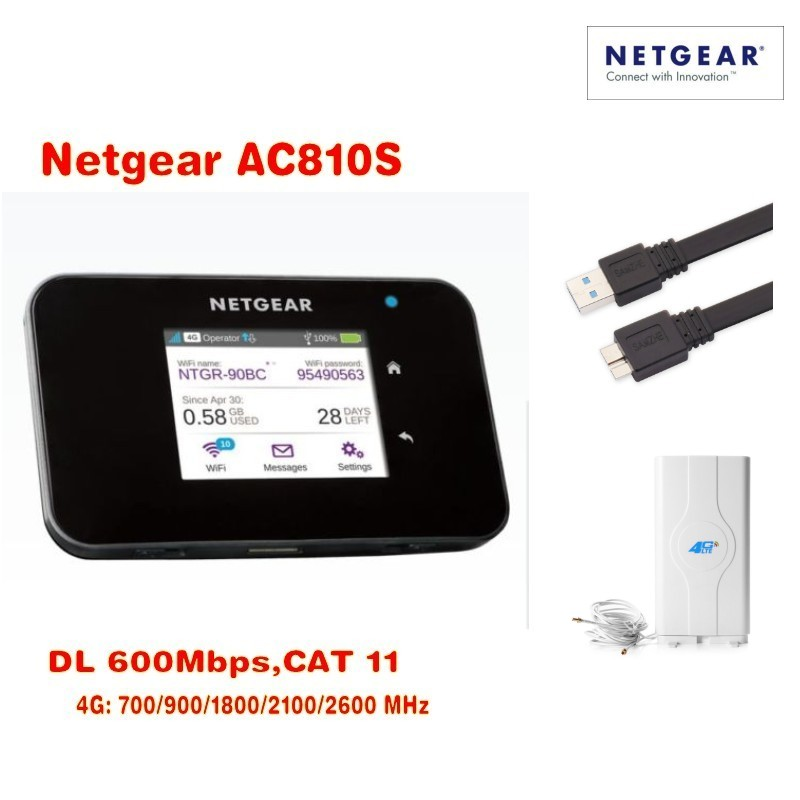600mbps 4g unlocked netger AC810S cat11 4g 3g mifi router 4g wifi dongle lte Wireless Air Card 810S 4G  +4G 49dbi mimo antenna