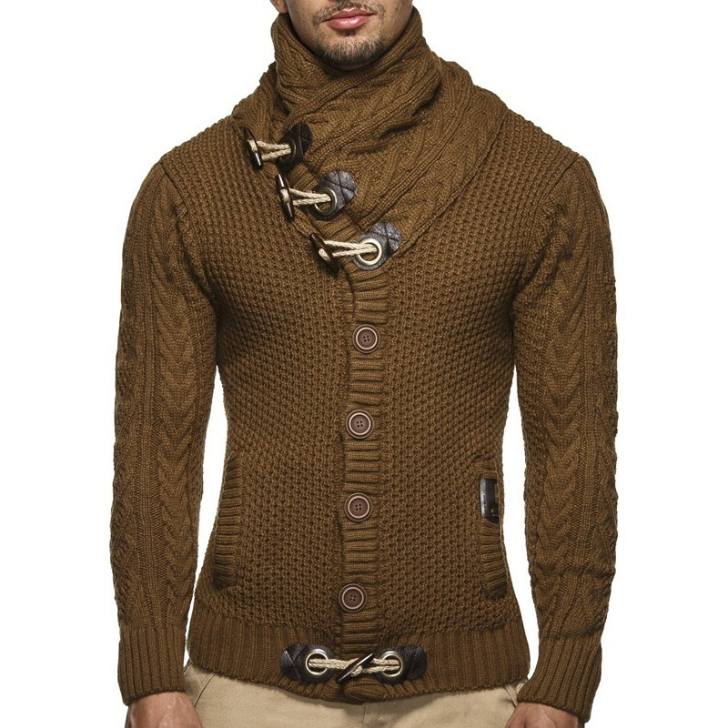 Autumn winter Sweater Cardigan Men 2018 Male Brand Casual Slim Sweaters Men Horns Buckle Thick Hedging Turtleneck Men'S Sweater