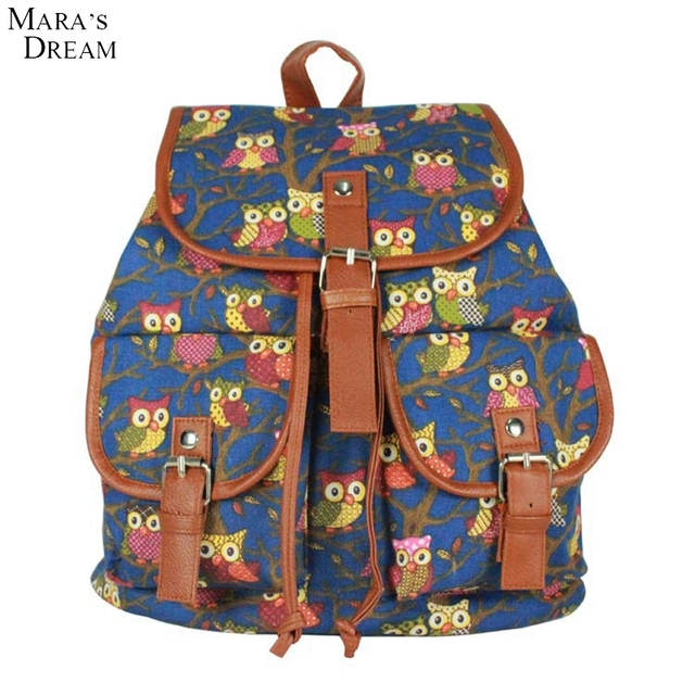 Mara's Dream 2017 Women Backpack For Girls Backpacks Fashion Students Travel School Bags For Girls Backpack Owl Canvas Backpack