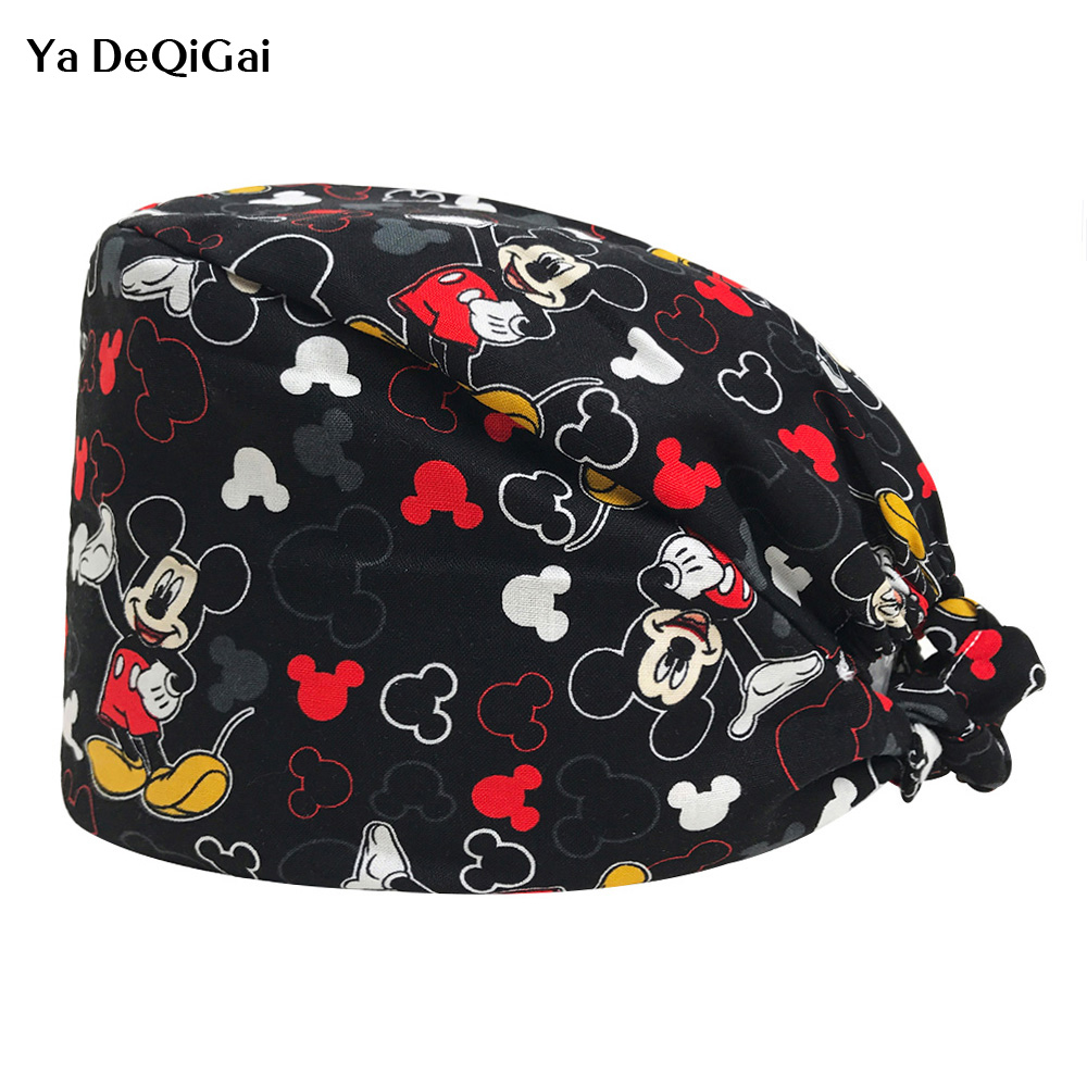 Dentist Clinic Work Hats Unisex Adjustable Breathable Ultra Soft Surgical Caps Mickey Print Medical Scrub Cap Nursing Scrubs Cap