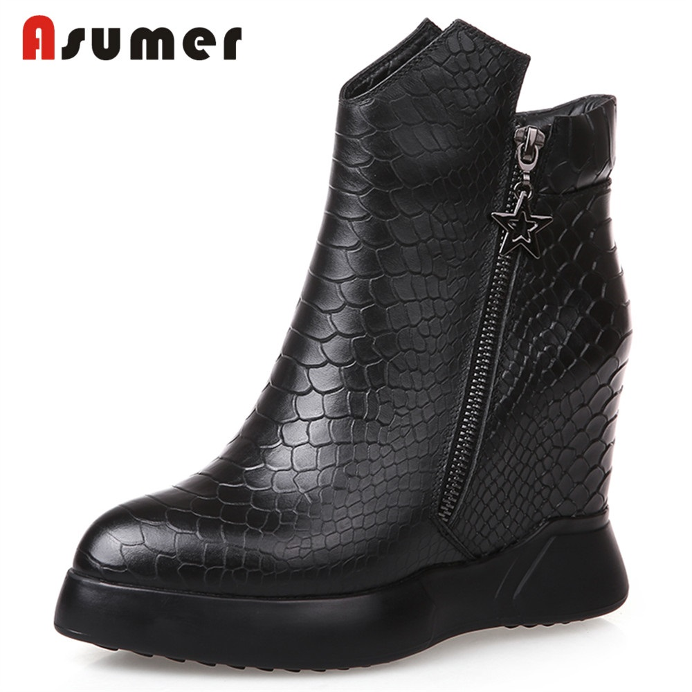 ASUMER 2018 NEW fashion height increasing ankle boots women genuine leather zipper high heels pointed toe boots dress shoes