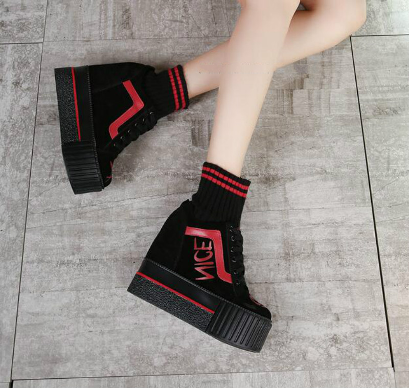 ФОТО 2017 autumn and winter new shoes Wool short boots Loose thick bottomed Martin boots Increased slope with the boots