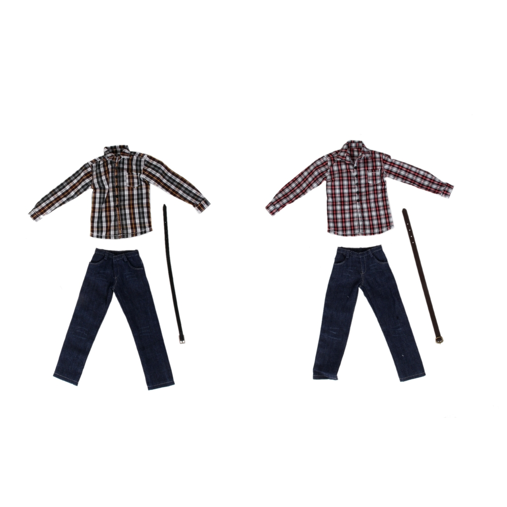 2 Sets 1/6 Men's Clothes for 12' Male Figures Plaid Long Sleeve Shirt Jeans classic plaid pattern shirt collar long sleeves slimming colorful shirt for men