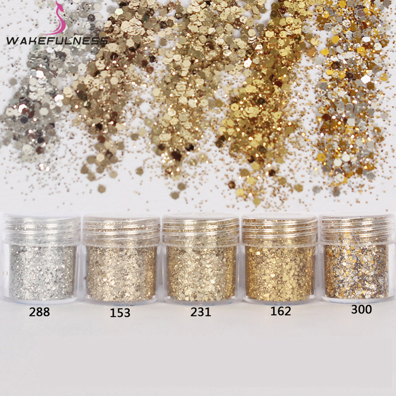 1 Caja Champagne Silver Nail Glitter Dust Fine Mix 3D Nail Lentejuelas Acrílico Glitter Powder Large Nail Art Tips Decoración 10ML