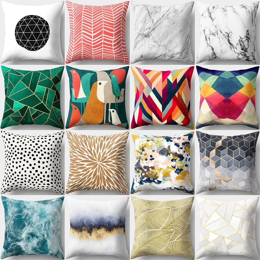 45*45cm Colorful Geometric Pattern Cotton Linen Throw Pillow Cushion Cover Car Home Sofa Decorative Pillowcase