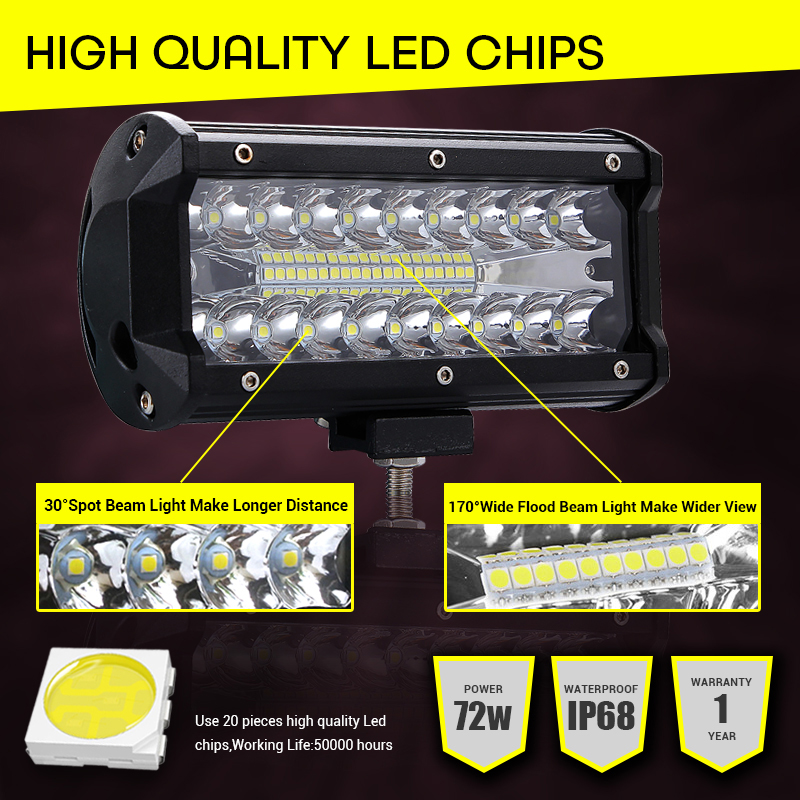 Image 3 - Led Light Bar Offroad 4x4 7 Inch 120W Led Work Lights for Tractors Spot Flood Combo Beam Triple Row Led Fog Lamp Driving Lights-in Light Bar/Work Light from Automobiles & Motorcycles
