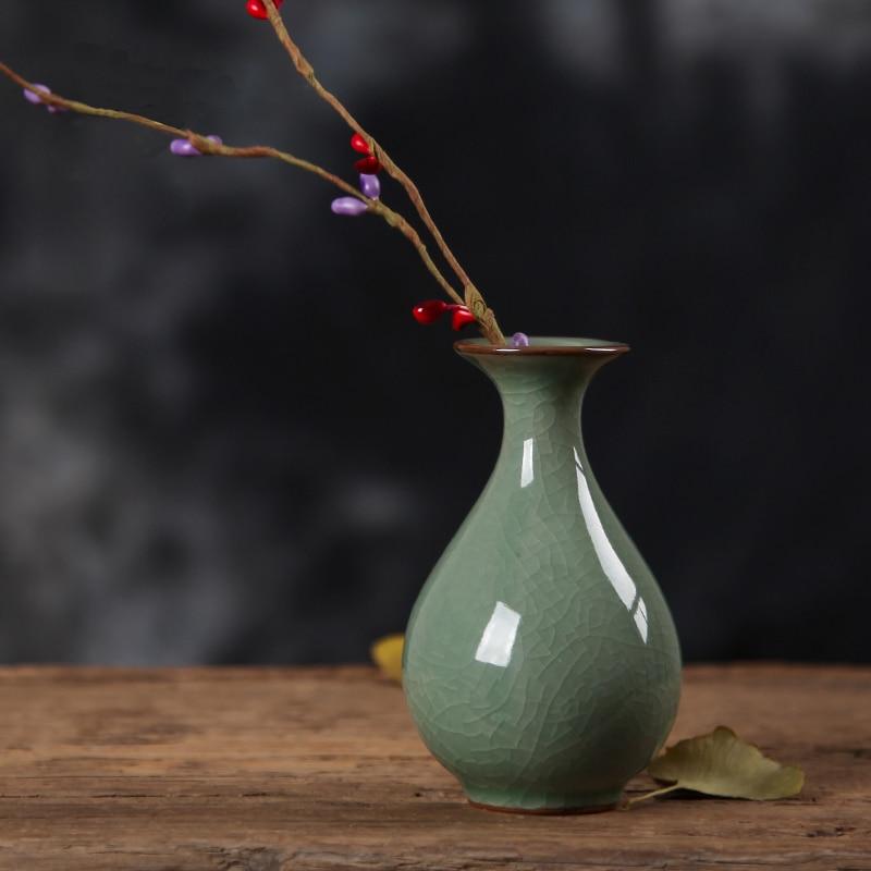 Керамика Longquan Гончарная Ваза Винтаж украшения фарфора домашнего интерьера гидропоники цветок вставляется рабочего декор Украшения