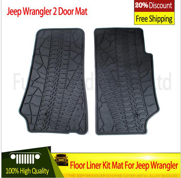 hot sales For Jeep Wrangler Black Rubber Car Mat Black with Red Colors 2 Doors 4doors Front Cab 2007-2015 Foot /floor Pad 2pcs new car red solid steel front grab handles with power coated surface resist rust for jeep wrangler 2 4 door 2007 2015