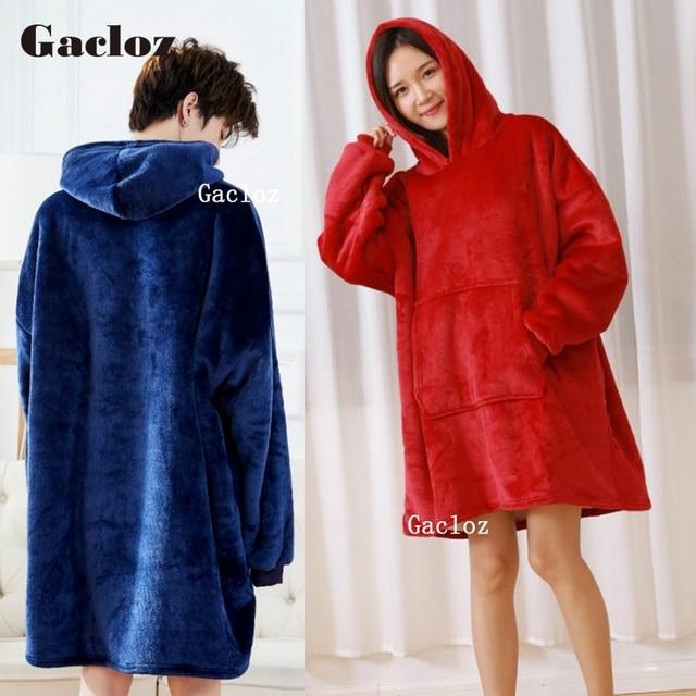 Christmas PJs Women Hoodie Winter Hooded Coats Warm Slant Hooded Robe  Bathrobe Sweatshirt Fleece Pullover Blanket For Men Women 915f2e14c