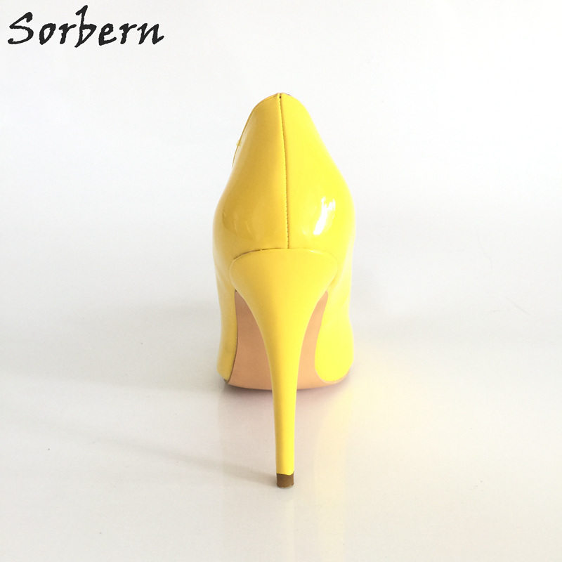 Faux Designer 33 46 Custom Ue jaune custom 2017 Pointu Lumineux Mujer Sorbern Femme Color Pu Taille Bout Suede Personnalisé Zapatos Chaussures Jaune Élargie Moda Talons De Piste Shiny nq0UnT64wp