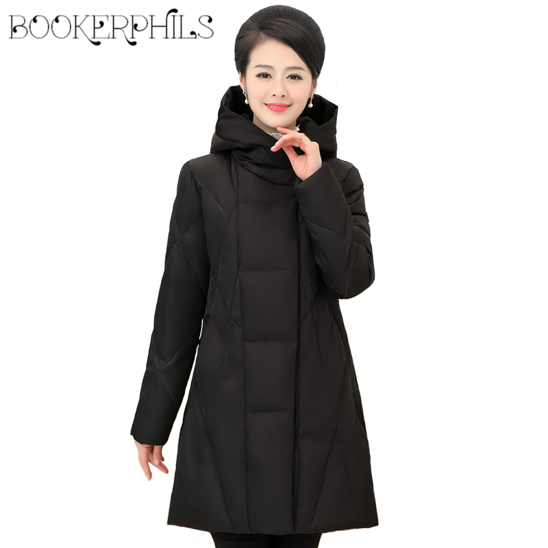 2019 Autumn Winter Women White Duck Down Jacket Long Coat Hooded Plus size 5XL High Quality