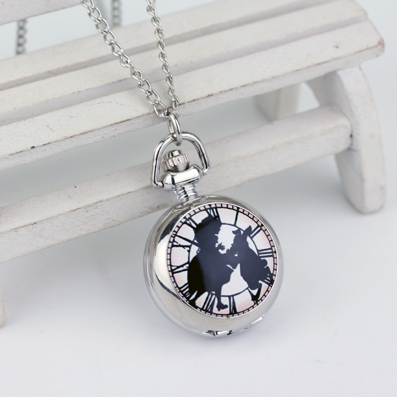 Alice In Wonderland Theme Silver Quartz Pocket Watches Vintage Rabbit Fob Watches Women Children Necklace New Year Gift