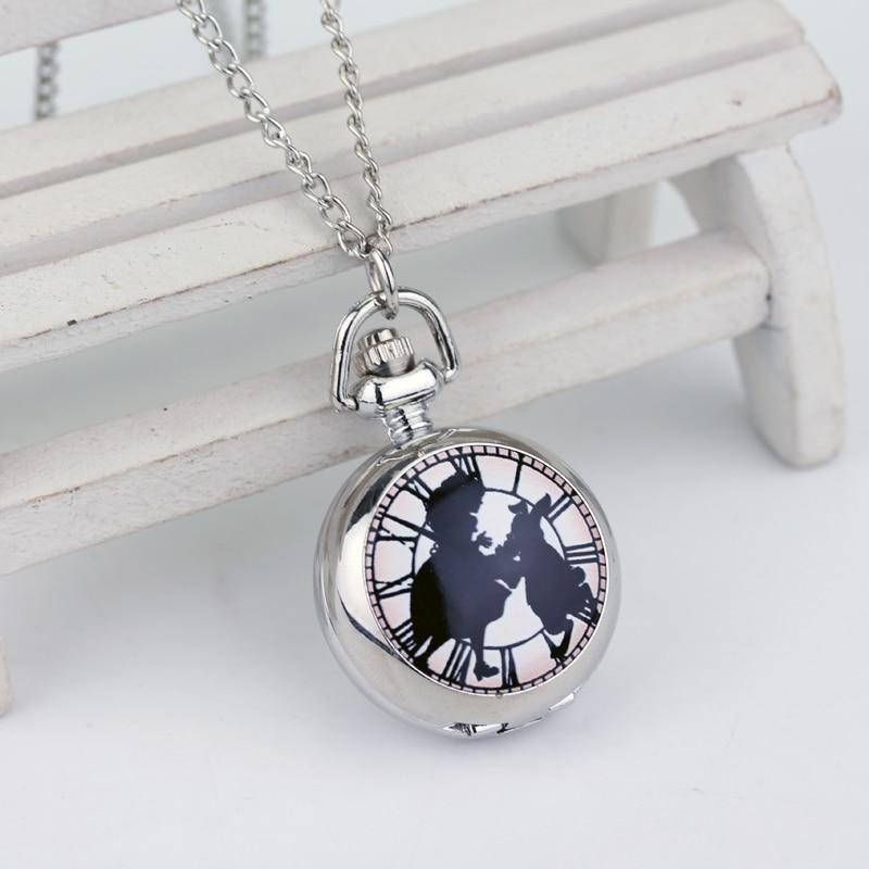 Alice In Wonderland Theme Silver Quartz Pocket Watches Vintage Rabbit Fob Watches Women Children Necklace New Year Gift