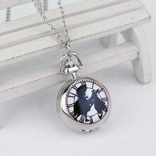 Alice in Wonderland Theme Silver Quartz Pocket Watches Vinta