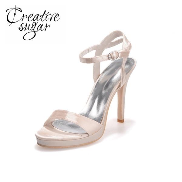 Creativesugar mode simple conception boucle cheville satin sandales ... 9b654a7b48f0