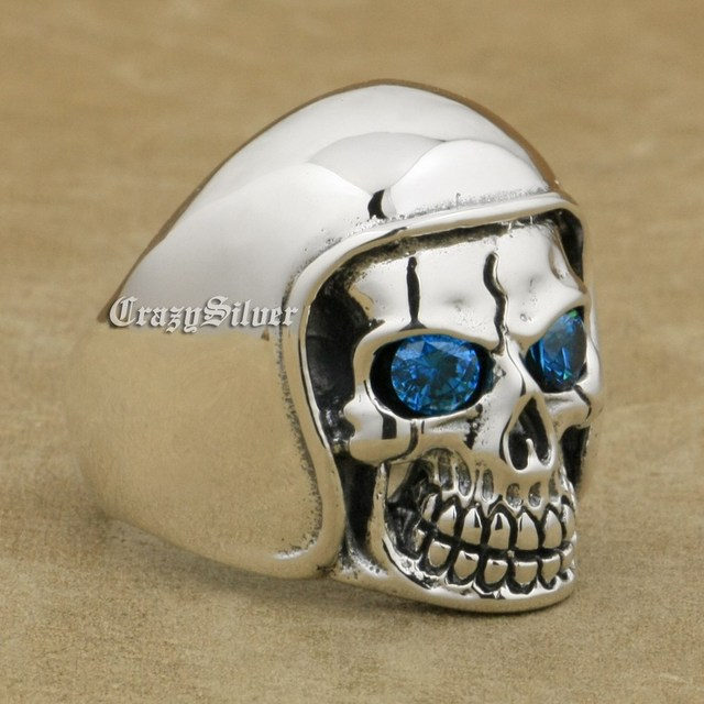 6bcfe6fc8d29f US $44.99 |LINSION 925 Sterling Silver Football Helmet Hat CZ Eyes Skull  Ring Men Biker Rock Punk Style 9Q111-in Rings from Jewelry & Accessories on  ...