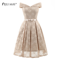 JLI MAY Lace wedding party dress solid slash neck midi short sleeve bow embroidery vintage elegant evening formal summer dresses