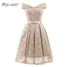 JLI MAY Lace wedding party dress solid slash neck midi short sleeve bow embroidery vintage elegant evening formal summer dresses