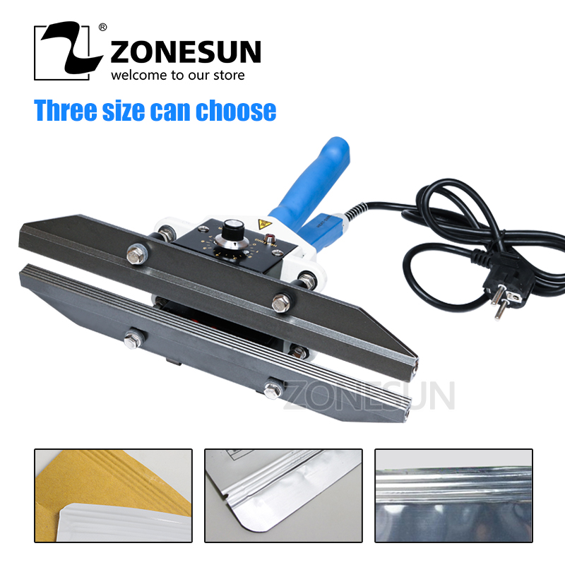 ZONESUN FKR400 hand impulse sealer with cutter handheld heat impulse sealer Manual sealing machine цена