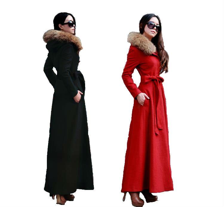 2016 новые Модные осенние и зимние пальто с капюшоном тонкий женские длинные шерстяные пальто кашемировое пальто с мехом енота зимняя куртка
