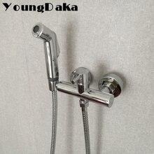 где купить Free Shipping Bathroom  Solid Brass Chrome Toilet Bidet ,Hot and Cold Water Shower Set Handheld Sprayer Bidet Rinse Faucet Set по лучшей цене