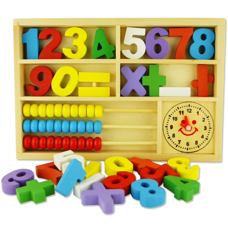 Children Digital Counting beads Learning Box Blocks 2-6 years old Baby Early Learning Cognitive Wooden toys