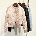 2017 Fashion Autumn Winter Diamond lattice black pink blue  jacket cotton PU Leather Women Bomber Jacket zipper coat