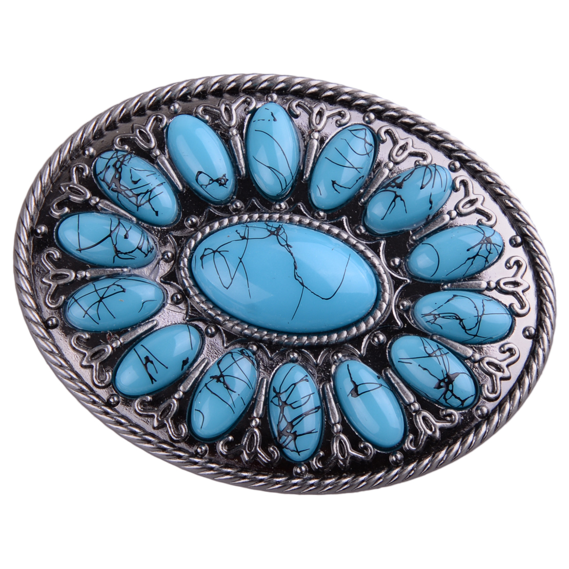 Vintage Retro Fake Turquoise Alloy Belt Buckle Men Women Western Cowboy Belt Accessory Christmas Gift