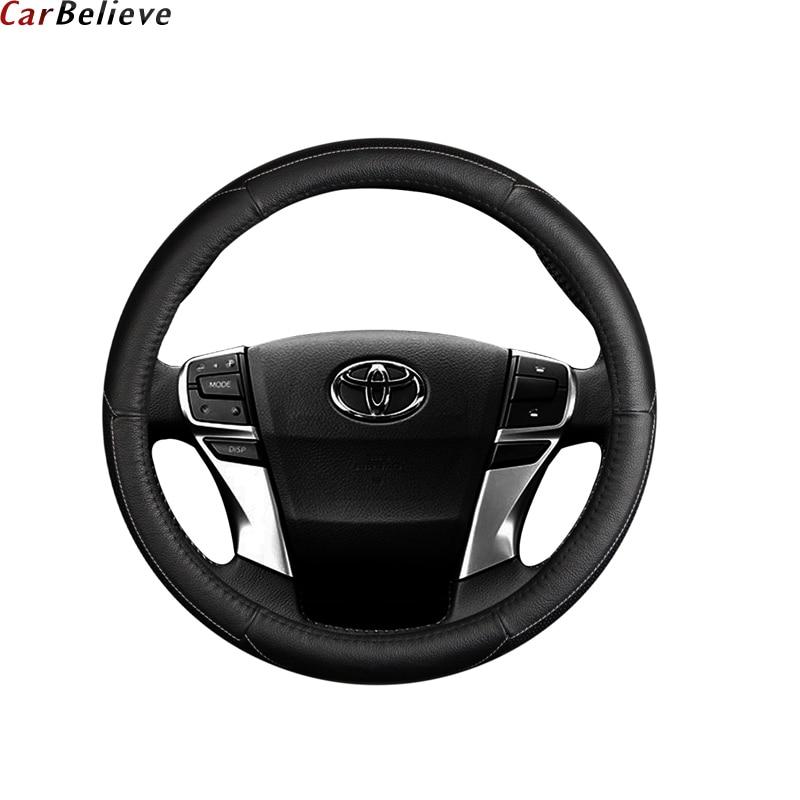 Car Believe Genuine Leather car steering wheel cover For toyota avensis prius auris aqua corolla steering wheel car accessories стоимость