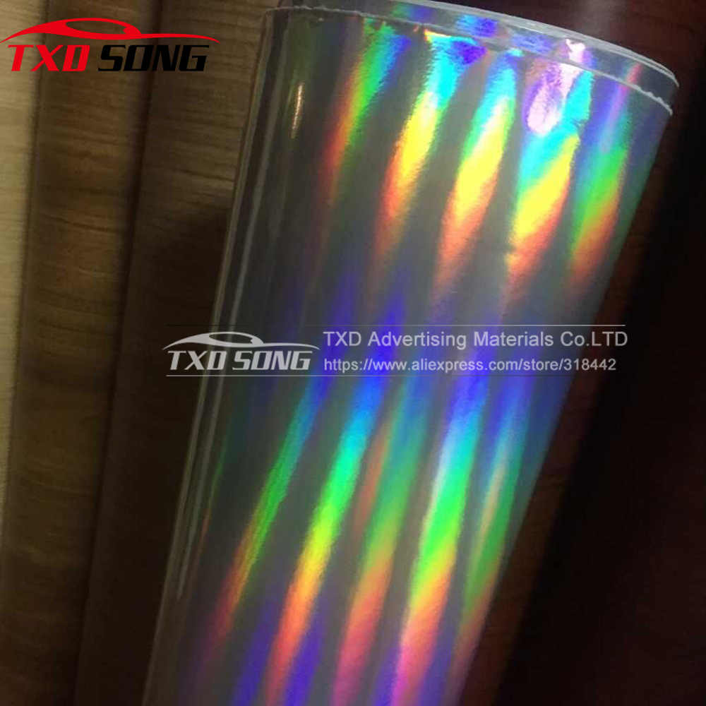 Gratis verzending Zilveren Regenboog Chrome Holografische vinyl met lucht gratis bellen holografische sticker Regenboog holografische