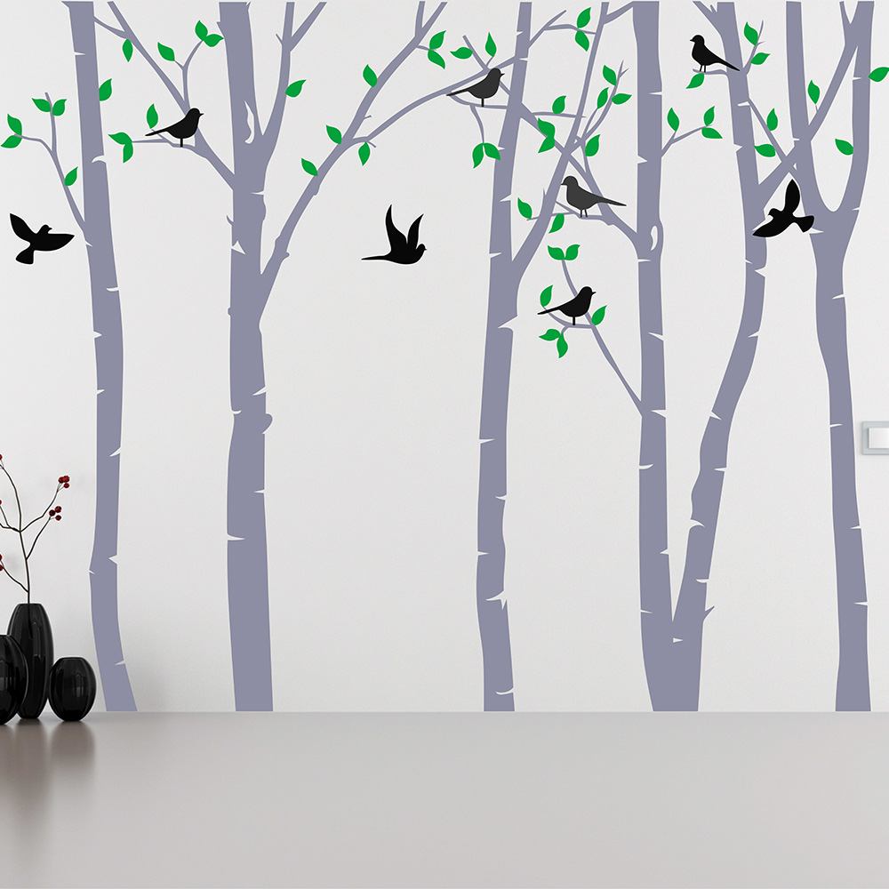 Wild birch forest with owls vinyl wall decal - Birch Tree Wall Sticker Living Room Forest Wall Decals Removable Tree Sticker Vinyl Wall Decor Baby