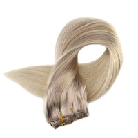 Full Shine Double Weft Clip In Blond Roots Hair Extensions Color 18 Fading to 22 And 60 Nordic 9Pcs 100g Remy Hair With Clips
