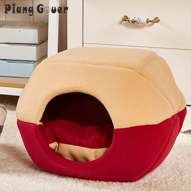 Warm Dog Cat Bed House Hamburger Bed Windproof Pet Puppy Nest Shell