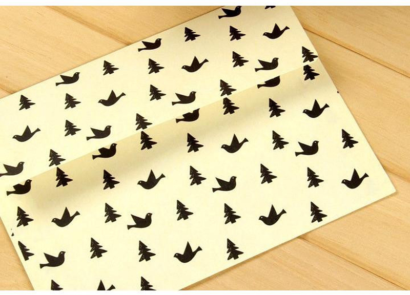 Envelope Cartoon Bird Set 120g Japanese White Kraft Paper Cute Envelope Bag Invoice Paper Bag Office Supply 5Pcs/Lot 17.5*12.5cm