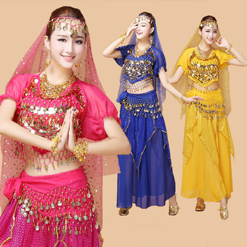 4pcs Bellydance Costume Bollywood Costume Indian Performance Dress Bellydance Dress Woman Belly Dancing Costume Sets Tribal