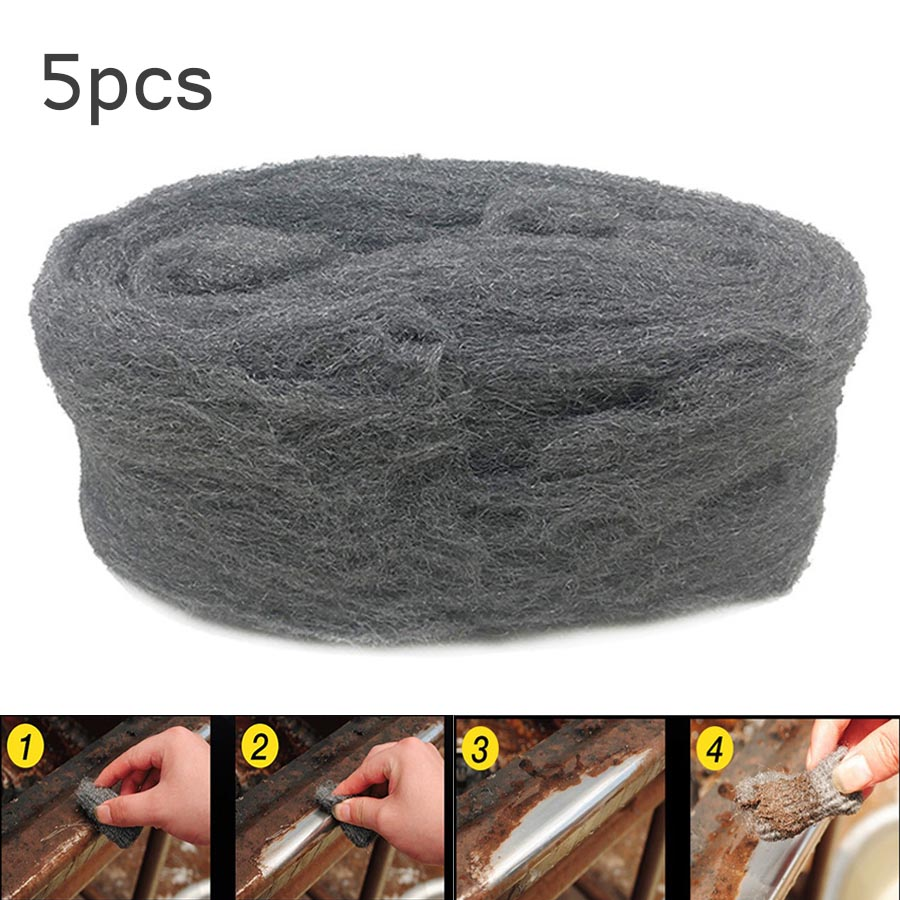 5Pcs 3.3m Steel Wire Wool Metals Polishing Cleaning Tool For Such Bronze Copper Chrome Stainless Steel And Aluminium