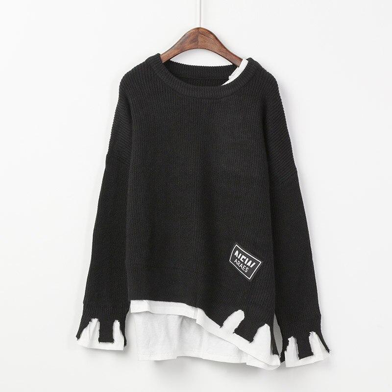 Piste De Rouge Chandails Femmes Noir bourgogne Et 2017 Tricoté Surdimensionné Automne corail Mode Pulls Pull Coréen Noir Tops Chandail Hiver Vêtements lcFK1TJ