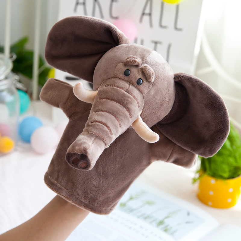 New Kids Lovely Animal Plush Hand Puppets Childhood Soft Toy Elephant Tiger Shape Story Pretend Playing Dolls Gift For Children