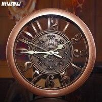 Meijswxj 3D Wall Clock Saat Clock Reloj De Pared Duvar Saati Vintage Digital Wall Clocks Living Room Wall Decoration Supplies