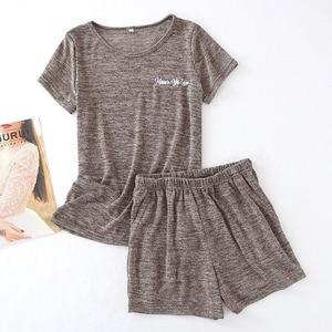 Image 2 - גבירותיי פיג מה סט קיץ קצר שרוול למעלה + מכנסיים קצרים מוצק צבע הלבשת נוחות רך עגול צוואר מזדמן ללבוש נשים Loose homewear