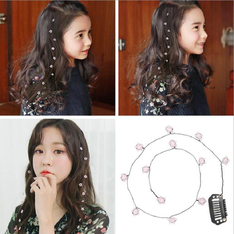 New Girls Flowers Invisible Hair Clip Salon Bridal Bridesmaid Sweet Wedding Headdress Hairpin Rope Hair Accessories Tool