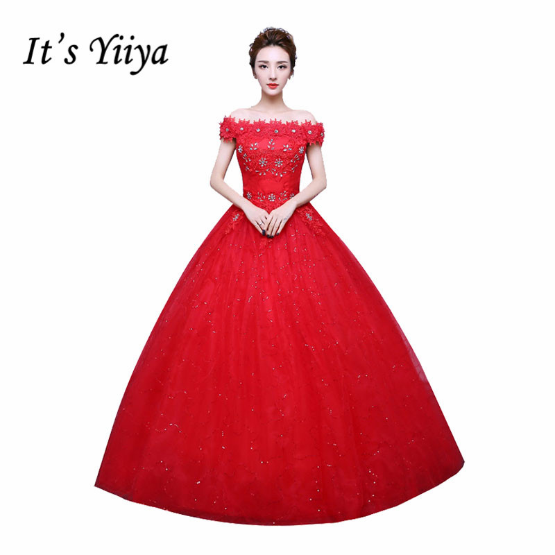 It's YiiYa Red White Boat neck Flowers Wedding Dresses Lace Bling Floor Length Bride Gowns Vestidos De Novia XXN159