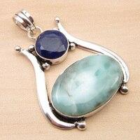 Silver Plated Sapphires SKY Agates 2 Gem BIRTHSTONE Pendant 1 7 NEW